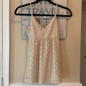 Express Tops - Express Babydoll Crochet-like Tan Top Sz XS